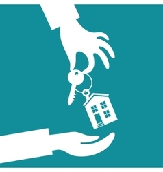 Hand real estate agent holding holds a key vector image