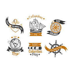 happy columbus day logo sign flat set vector image