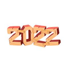 happy new year 2022 design 3 d wooden vector image