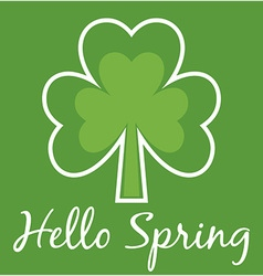 Hello Spring Shamrock Card vector