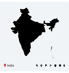 High detailed map of India with navigation pins vector