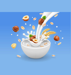 Instant oatmeal with hazelnuts milk splash bowl vector