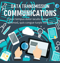 Internet communication technology poster vector