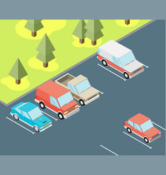 isometric car parked flat vector image