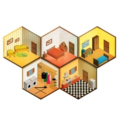 isometric rooms icon vector image