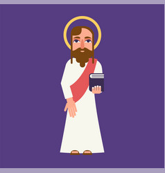 Jesus christ cartoon flat character vector
