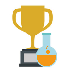 laboratory tube test flask with trophy cup vector image