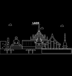 laos silhouette skyline city lao linear vector image
