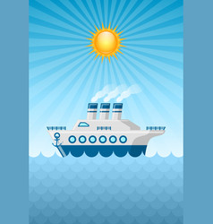 large cruise ship on ocean with sky sun and vector image