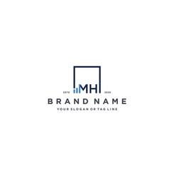 Letter mh square logo finance design vector