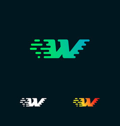 Letter w modern speed shapes logo design vector