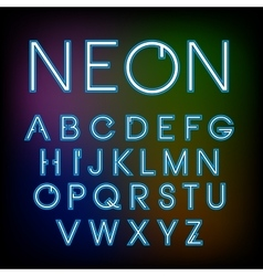 Linear neon font vector