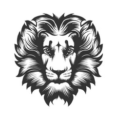 Lion head drawn in engraving style vector