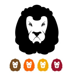 Lion head silhouette Predator Much to mane vector image
