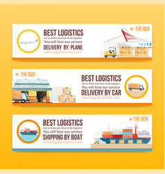 Logistics banner design with forklift warehouse vector