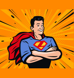 male superhero in pop art vector image