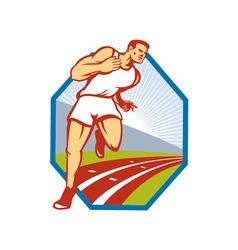 Marathon Runner Running Race Track Retro vector
