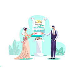 Marriage contract concept vector