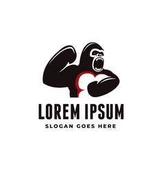minimalist powerful gorilla logo icon template vector image