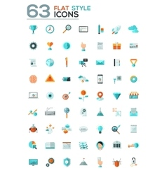 Modern flat icons collection with long vector image