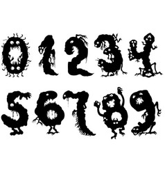 monsters numbers set vector image
