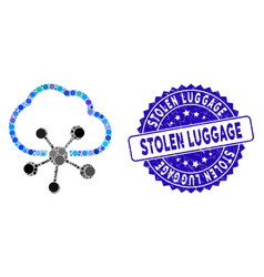 Mosaic cloud network icon with scratched stolen vector