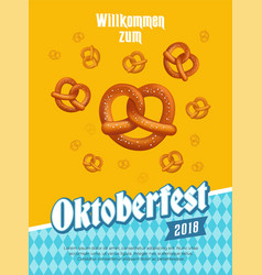 oktoberfest poster with pretzels and traditional vector image