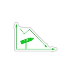 Paper sticker on white background financial graph vector
