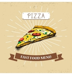 Pizza piece fast food in vector image