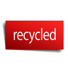 Recycled red paper sign on white background vector