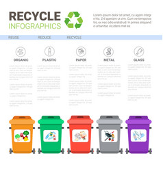 rubbish container for sorting waste infographic vector image