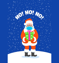 santa claus in medical mask holding present vector image