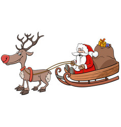 santa claus on sleigh with reindeer and christmas vector image