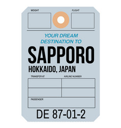 Sapporo airport luggage tag vector