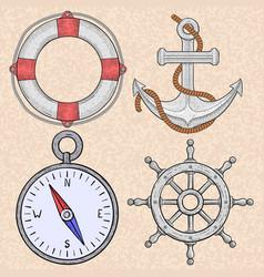 Sea symbols lifebuoy anchor compass steering vector