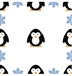 seamless pattern with penguins and snowflakes vector image