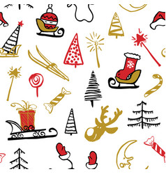 seamless traditional christmas background vector image