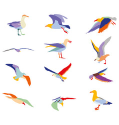 set of colorful silhouettes of seagulls vector image