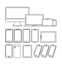 set of gadgets technologies digital responsive vector image