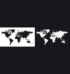 set world map on white transparent and gray vector image