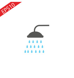 shower flat colored line icon vector image