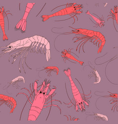 shrimp seamless background seafood pattern vector image