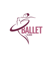 Silhouette of beauty ballet dancer logo template vector