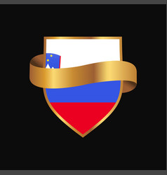 Slovenia flag golden badge design vector