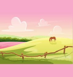 Summer cute sunny cartoon rural glade hills view vector