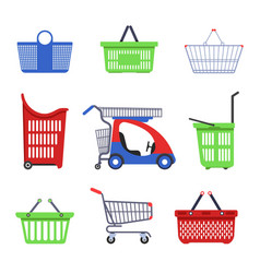 Supermarket cart and basket shopping trolleys vector
