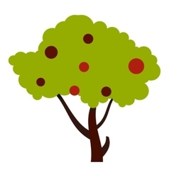 Tall tree with fruits icon flat style vector