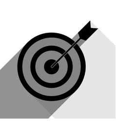Target with dart black icon with two flat vector