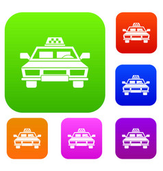taxi car set collection vector image