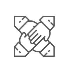 Teamwork team hands line icon vector